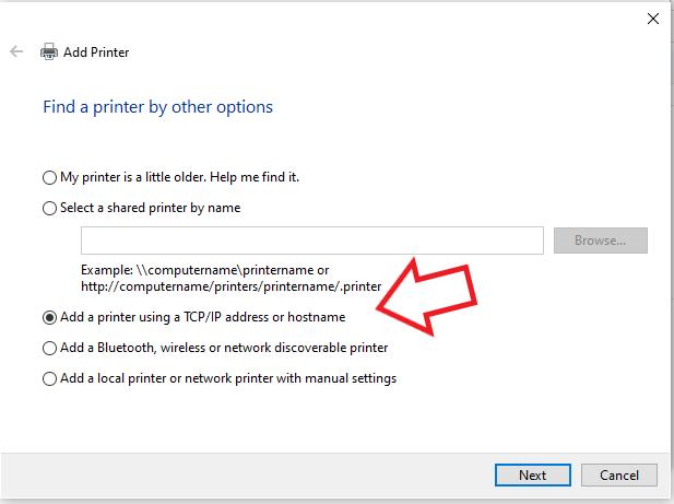 add a printer using tcp or ip address to fix 0x00000bc4 error