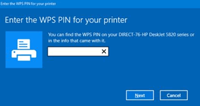 enter wps pin for your printer