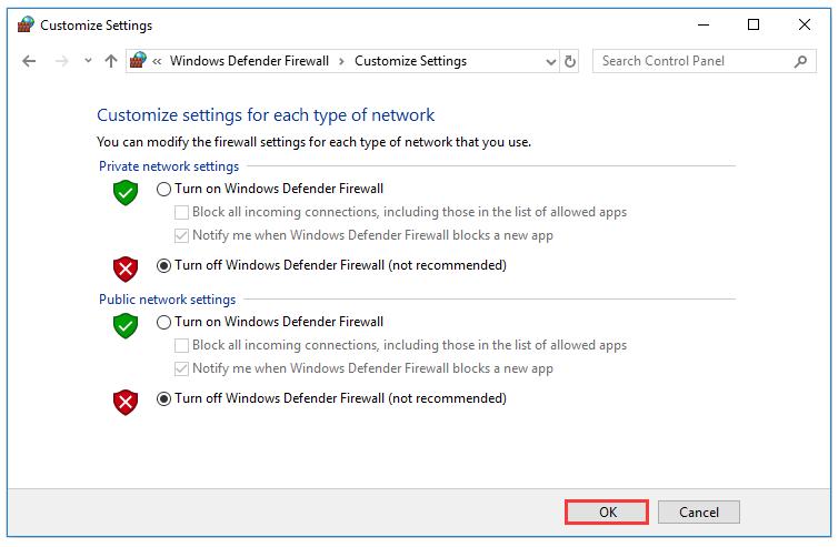 turn off windows firewall to fix configuration problem