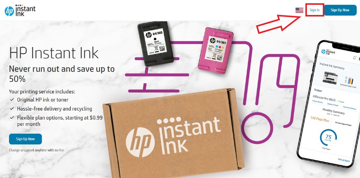 hp instant ink program sign in